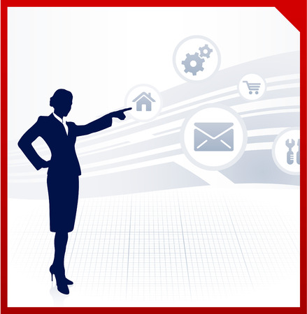 Original Vector Illustration: businesswoman displaying internet icons AI8 compatible