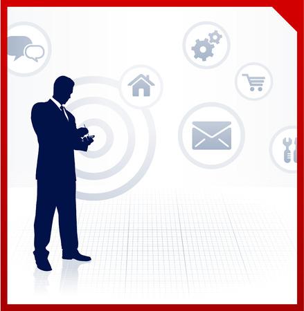 accessing: Ilustraci�n original de vector: empresario de acceso a internet en el tel�fono celular AI8 compatible Vectores