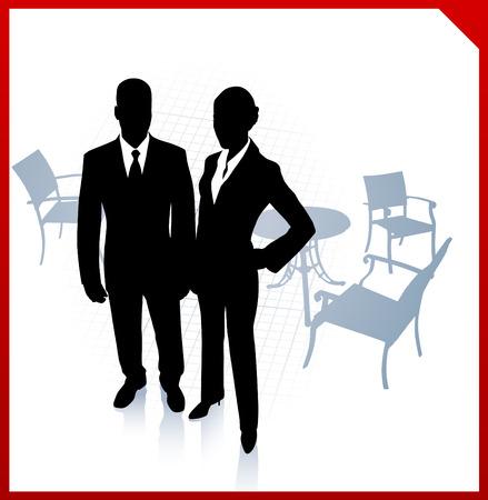 Original Vector Illustration: businessman and businesswoman during break on red border backgroundAI8 compatible