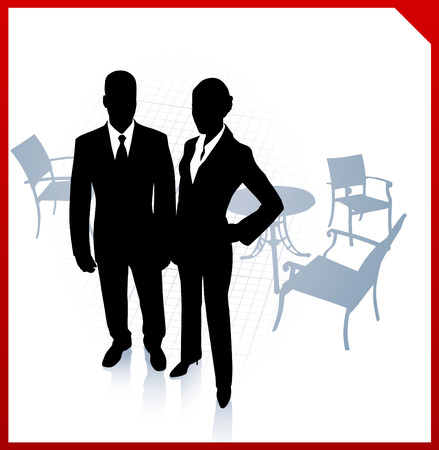 Original Vector Illustration: businessman and businesswoman during break on red border background
