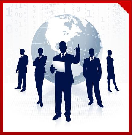 元のベクター イラスト: ビジネス チーム背景世界と AI8 互換性
