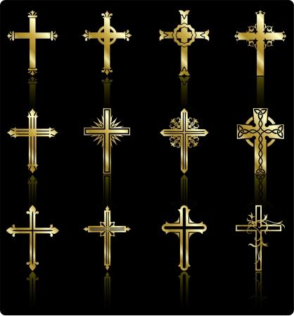 catholicism: Original Vector Illustration: religious cross design collection Illustration