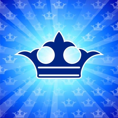 Original Vector Illustration: crown on blue background AI8 compatible