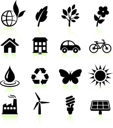 reforestaci�n: Ilustraci?n original de vector: conjunto de iconos de los elementos de medio ambiente  Vectores