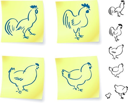 rooster and chickens on post it notes original vector illustration 6 color versions included Vector