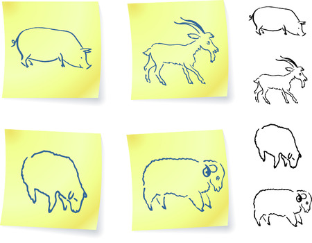 pig, goat, ram and sheep  on post it notes original vector illustration 6 color versions included