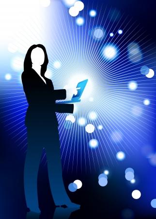 fibra ottica: Illustrazione vettoriale originale: businesswoman azienda computer portatile con fibra ottica internet sfondo AI8 compatibile
