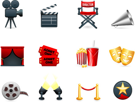 roped: Original vector illustration: Film and movies industry icon collection