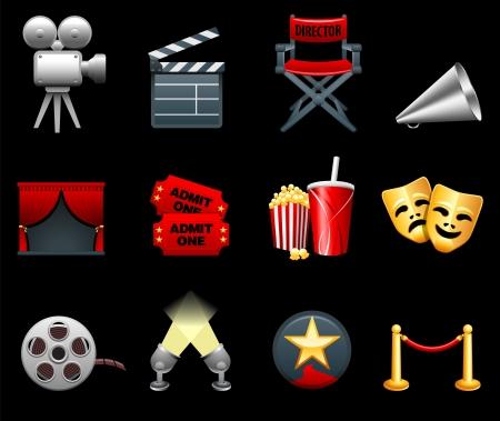원래 벡터 그림 : 영화와 영화 산업 아이콘 모음