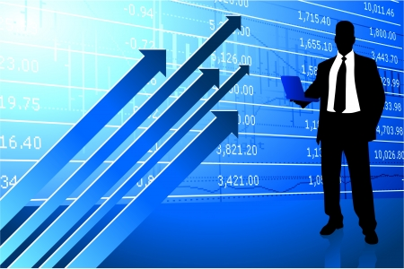 Original Vector Illustration: Business man on background with stock market data AI8 compatible