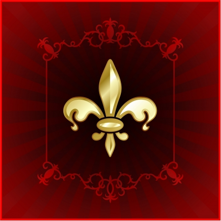 Original Vector Illustration: fleur de lis on red internet background AI8 compatible Vector