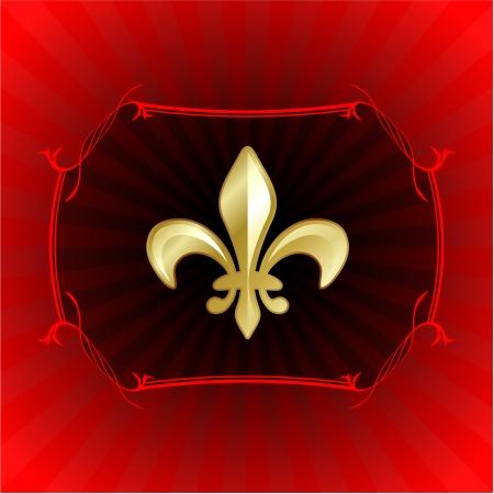 Original Vector Illustration: fleur de lis on red internet background AI8 compatible Illustration