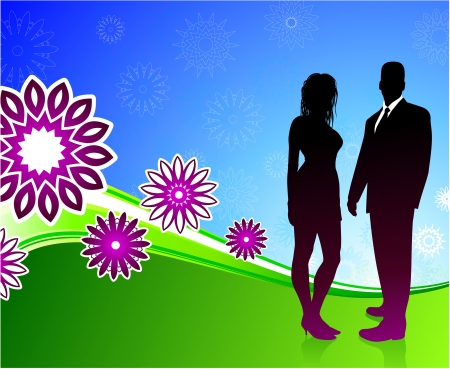 couple lit: Original Vector Illustration: sexy couple on summer background AI8 compatible