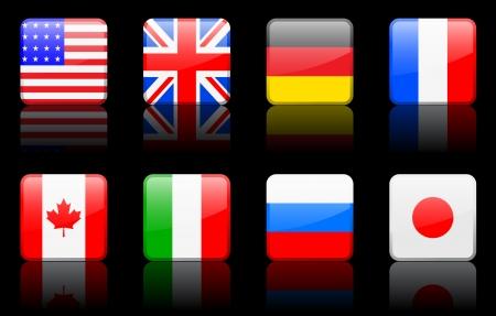 Originele vector illustratie: Wereld vlag serie G8-landen