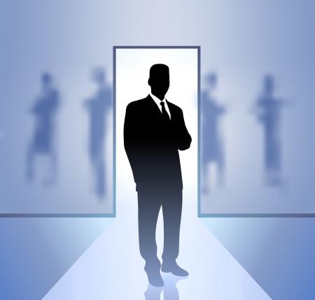 Original Vector Illustration: Businessman executive in focus on blurry backgroundAI8 compatible Vettoriali