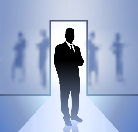 Original Vector Illustration: Businessman executive in focus on blurry background AI8 compatible Ilustração