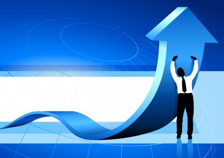 Original Vector Illustration: Business Man holding up arrow blue backgroundAI8 compatible Stock fotó - 22419573