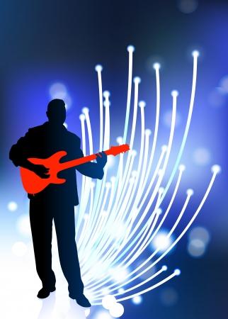 fibra ottica: Chitarrista dalla fibra ottica sfondo Illustrazione vettoriale originale Music Player Ideale per Live Music Concept Vettoriali