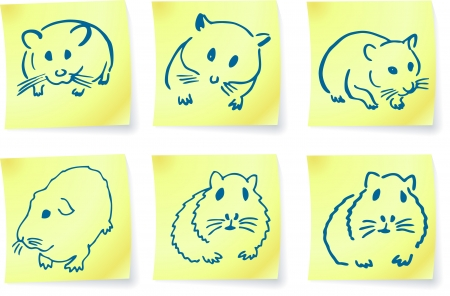 mice and hamsters on post it notes original vector illustration 6 color versions included Vector