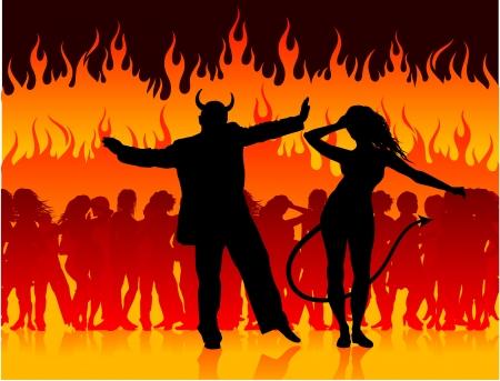 Original Vector Illustration: devil man and woman dancing in hell AI8 compatible Ilustração