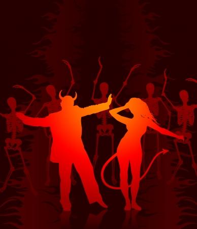 compatible: Illustration originale de vecteur: couple sexy en diable avec des squelettes AI8 compatible