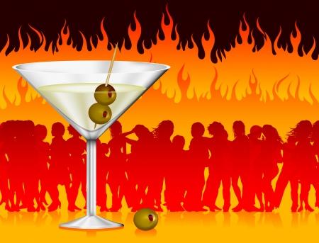 Original Vector Illustration: martini in hell AI8 compatible