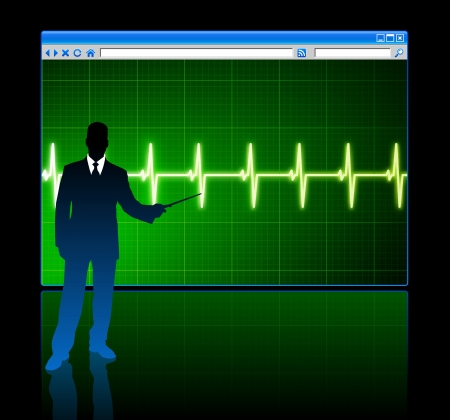 Original Vector Illustration: businessman with web page internet background AI8 compatible 向量圖像