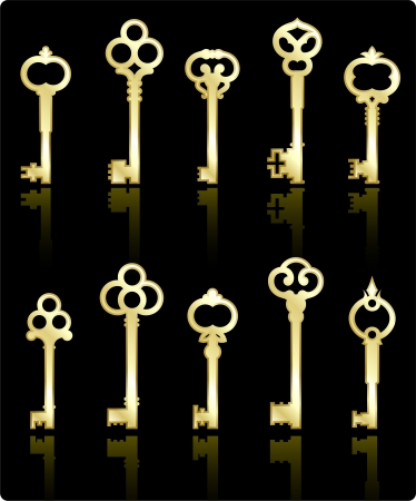 antique keys: Original vector illustration: antique keys collection
