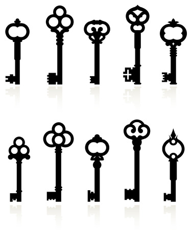 Original vector illustration: antique keys collection Vector