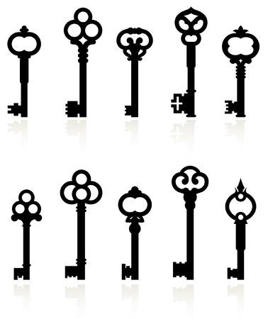 Original vector illustration: antique keys collection