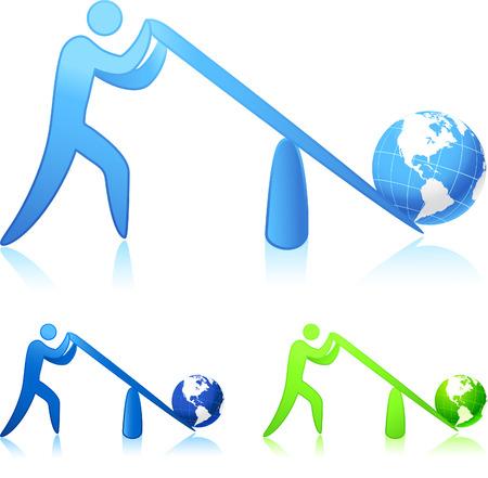 Original vector illustration: lifting the world (leverage)