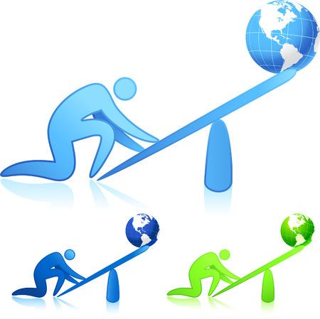 leverage: Original vector illustration: lifting the world (leverage)