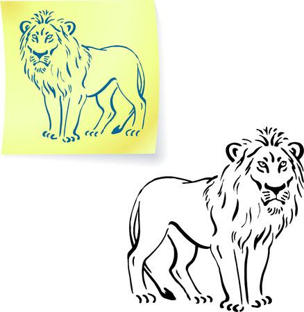 lion drawing: Disegno leone sul post nota illustrazione vettoriale originale 6 versioni colore incluse