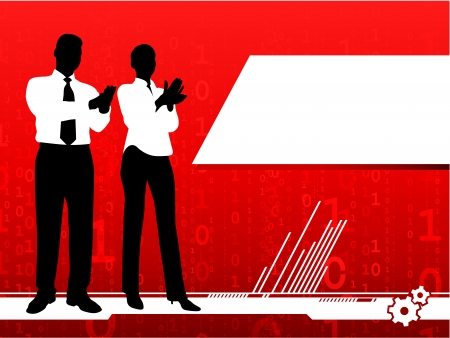 Original Vector Illustration: businessman and businesswoman clapping on red background