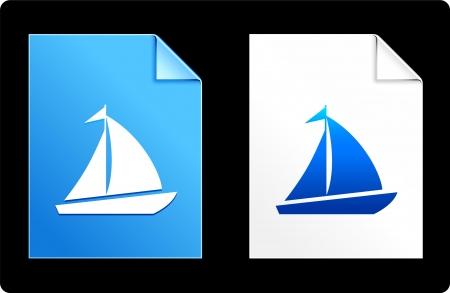 compatible: Sailboat on Paper Set Original Vector Illustration AI 8 Compatible File