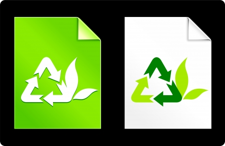 compatible: Recycle Symbol on Paper Set Original Vector Illustration AI 8 Compatible File  Illustration