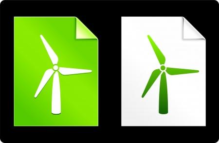 Wind Trubine on Paper SetOriginal Vector IllustrationAI 8 Compatible File