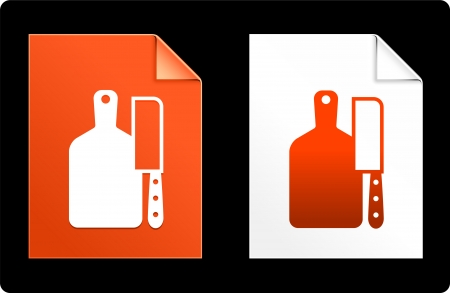 cutting board: Cutting Board and Knife on Paper Set Original Vector Illustration AI 8 Compatible File