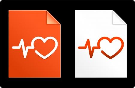 Heart Pulse on Paper SetOriginal Vector IllustrationAI 8 Compatible File 向量圖像