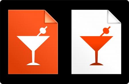 Martini on Paper Set Original Vector Illustration AI 8 Compatible File