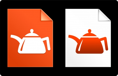 Tea Kettle on Paper Set Original Vector Illustration AI 8 Compatible File