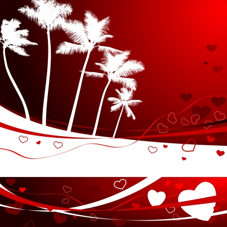 compatible: Original Vector Illustration: romantic tropical background for valentines day AI8 compatible