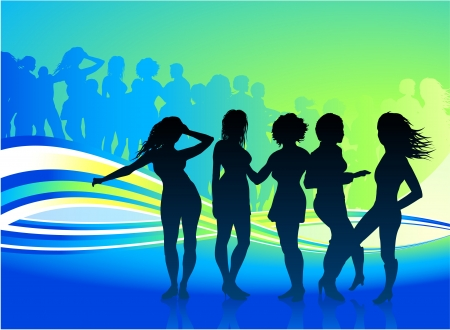 back lit: Original Vector Illustration: sexy women dancing at a party AI8 compatible Illustration