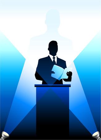 minister: Original Vector Illustration: Businesspolitical speaker silhouette background AI8 compatible Illustration