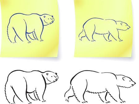 그것에 북극곰 드로잉 노트 원래 벡터 일러스트 포함 6 색 버전 일러스트