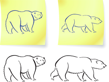 Polar bear drawings on post it notes original vector illustration 6 color versions included