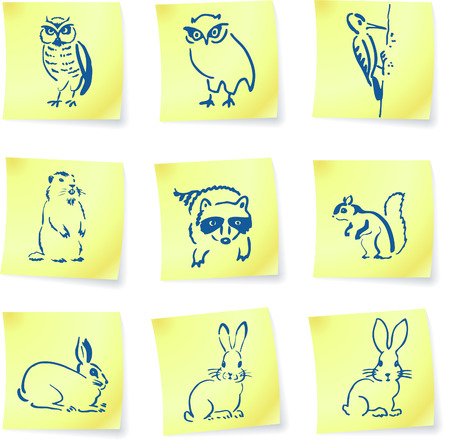 lop: forest creatures drawings on post it notes original vector illustration 6 color versions included