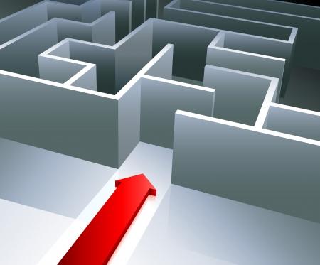 Original Vector Illustration: Red arrow begins to enter inside a maze AI8 compatible