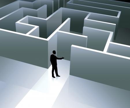 conquering adversity: Ilustraci?n vectorial original: Fondo empresario de internet con laberinto AI8 compatible Vectores
