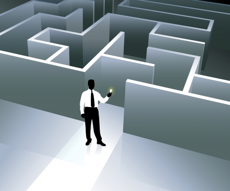 Original Vector Illustration: Businessman internet background with maze AI8 compatible Ilustração